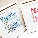 Personalised New Baby Typographic Print
