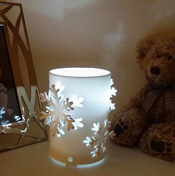 Snowflake White Flickering LED Candle Light
