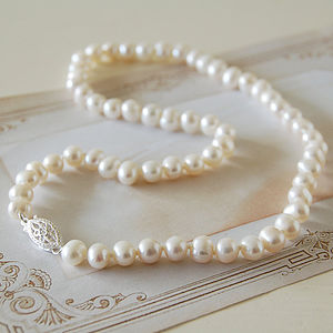 Vintage Style Pearl Necklace - wedding jewellery