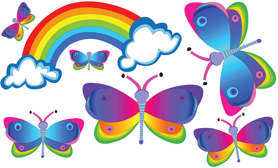 Rainbow And Butterfly Wall Stickers