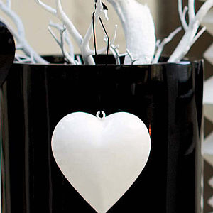 White Gloss Metal Heart - wedding favours