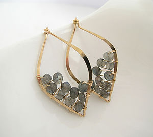 Labradorite Leaf Studs - earrings