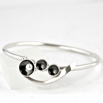 Silver Pearl Art Deco Hook Clasp Bangle