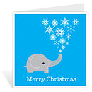 Elephant Christmas card - single image standing - blue