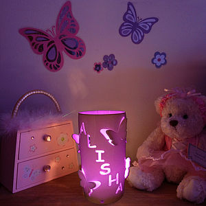 Personalised Butterfly LED Light With Sensor - children's lighting