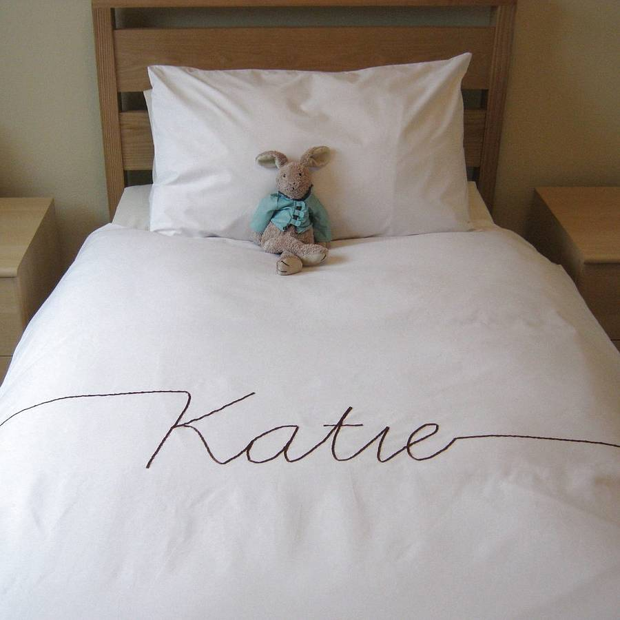 Personalised Script Font Duvet Cover By B Line Bespoke