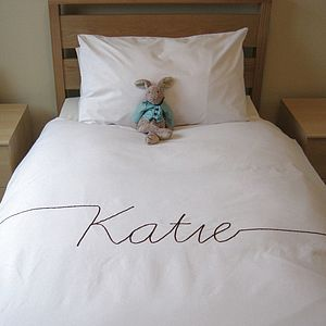 Personalised Script Font Duvet Cover - for over 5's
