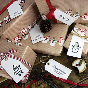 Pack Of 10 Christmas Gift Tags - ribbon & wrap