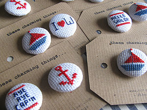 Nautical Cross Stitch Buttons