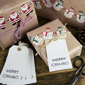 Pack Of 10 'Merry Crimbo' Christmas Gift Tags - cards & wrap