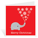 Elephant Christmas card - single image standing - red