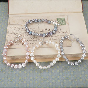 Freshwater Pearl Bracelet And Silver Clasp - bracelets & bangles