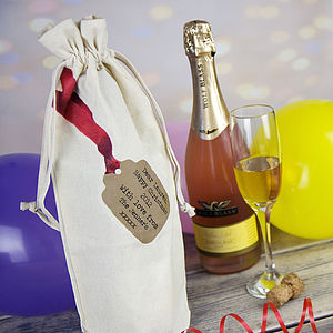 Personalised Printed Bottle Gift Bag - wedding favours