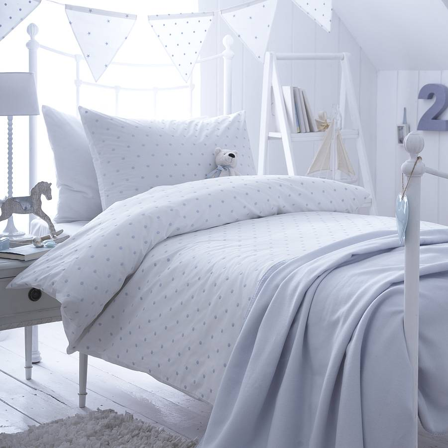 Dotty Blue Spot Cotton Bedding Collection By The Fine