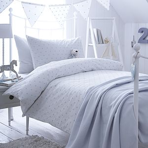 Dotty Blue Spot Cotton Bedding Collection - cot bedding