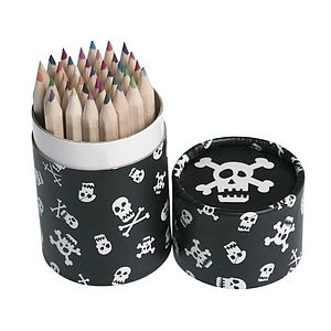 36 Mini Pencils In A Skull Pirate Tube - toys & games