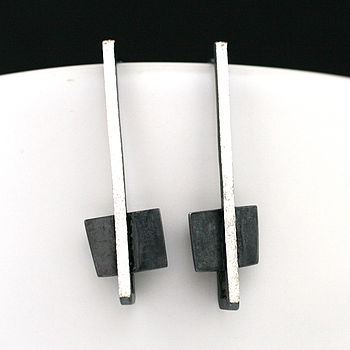 Silver Art Deco Square Dangle Earrings