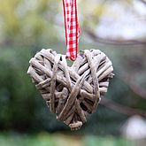 Hanging Grey Willow Heart Small - valentine's day