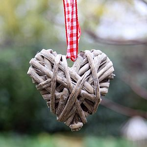 Hanging Grey Willow Heart Small - tree decorations