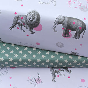 Mixed Circus And Star Wrapping Paper Pack - ribbon & wrap