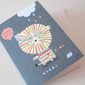 Lion And Balloon Birthday Card - birthday cards