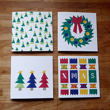 Set Of 12 Illustrated Christmas Cards