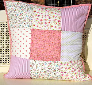 Vintage Print Patchwork Cushion 50% Off