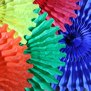 Paper Tissue Giant Coloured Fan Decorations - outdoor decorations