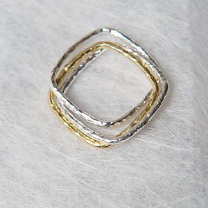 Silver And Gold Textured Triple Ring - rings