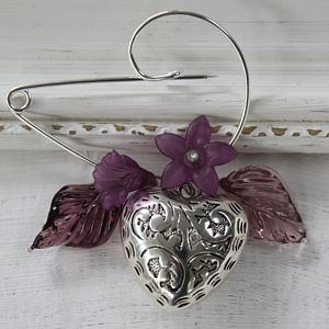 Contemporary Heart And Flower Brooch - women's jewellery