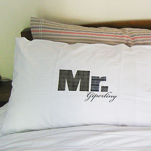Mr And Mr Printed Pillowcase Set - bedroom
