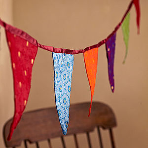 Fair Trade Recycled Sari Bunting - living room