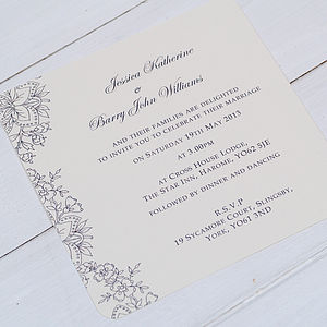 'Vintage Lace' Wedding Invitations - wedding stationery