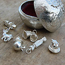 Pewter Christmas Pudding  and 6 silver charms