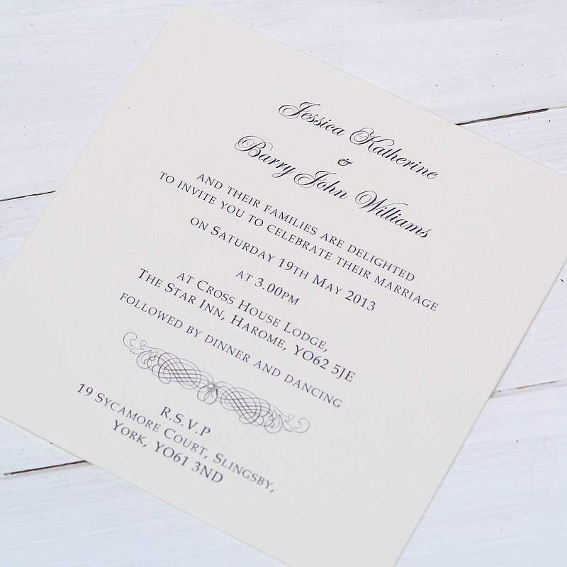 how to address couples on wedding invitations%0A Classic Personalised Wedding Invitation