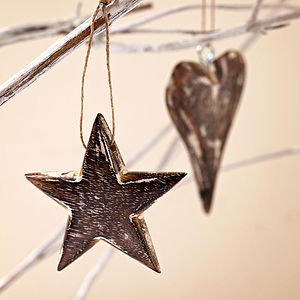 Set Of Two Wooden Heart And Star Decorations