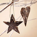 Handcarved Wooden Heart And Star Decorations