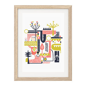 Folk Inspired Abstract Trees Screen-Print