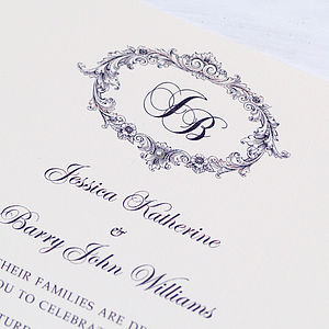 'Victorian' Personalised Wedding Invitation - wedding stationery