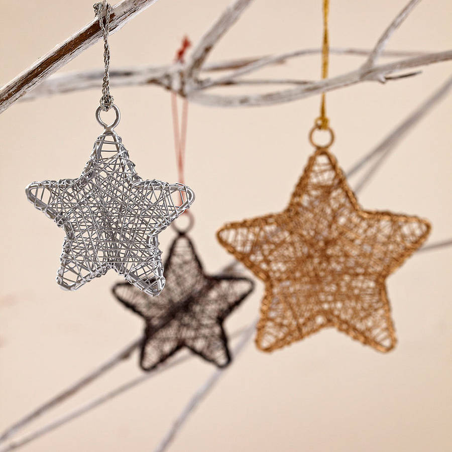 handcrafted wire star decorations