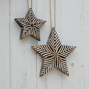 Large Handcarved Antique White Stars - hanging decorations