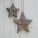 Large Handcarved Antique White Stars