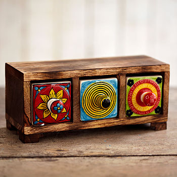 Indian Ceramic Hand Painted Three Drawer Set