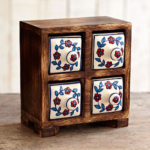 Indian Ceramic Handpainted Four Drawer Set - jewellery storage & trinket boxes