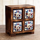 Indian Ceramic Handpainted Four Drawer Set