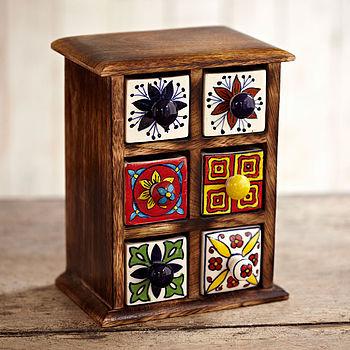 Indian Ceramic Handpainted Six Drawer Set