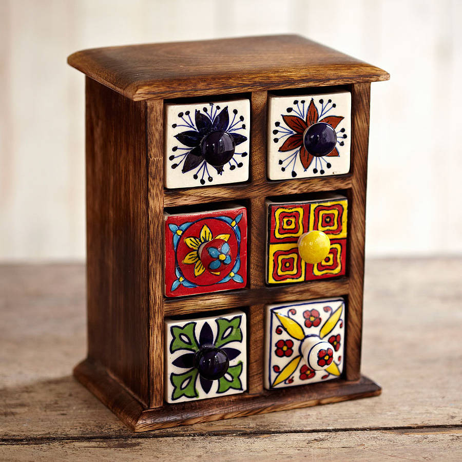 Handcrafted Six Drawer Trinket Box By Paper High
