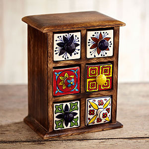 Indian Ceramic Handpainted Six Drawer Set - storage & organisers