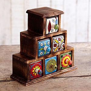 Handmade Pyramid Six Ceramic Drawer Set - jewellery storage & trinket boxes