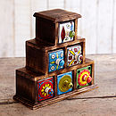 Handmade Pyramid Six Drawer Trinket Box